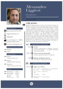 Curriculum vitæ di Alessandro Liggieri.
